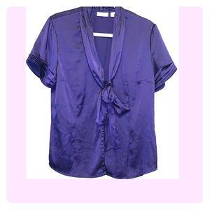 Purple tie neck blouse
